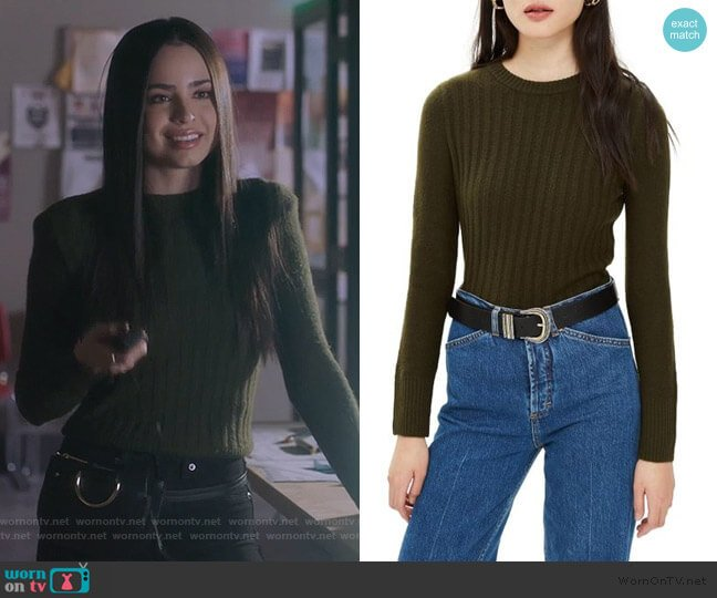 Topshop Olive Rib Sweater worn by Ava Jalali (Sofia Carson) on PLL The Perfectionists