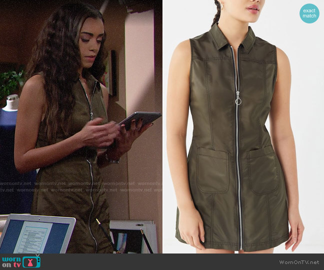 UO Bailey O-Ring Zip-Front Mini Dress worn by Zoe (Kiara Barnes) on The Bold & the Beautiful