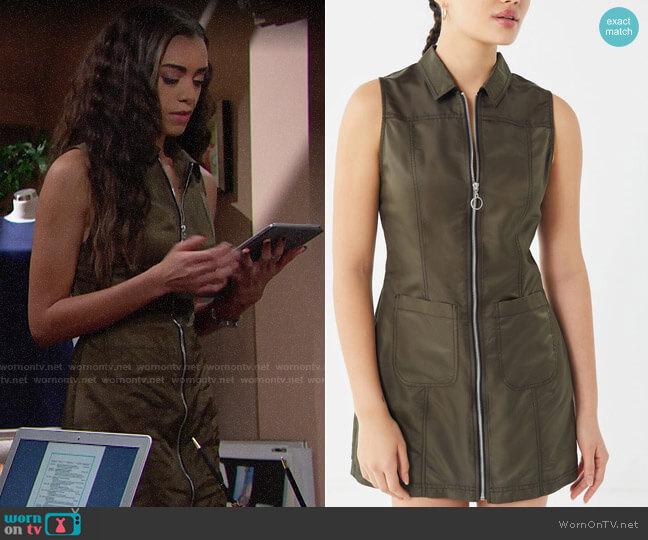 UO Bailey O-Ring Zip-Front Mini Dress worn by Zoe (Kiara Barnes) on The Bold & the Beautiful