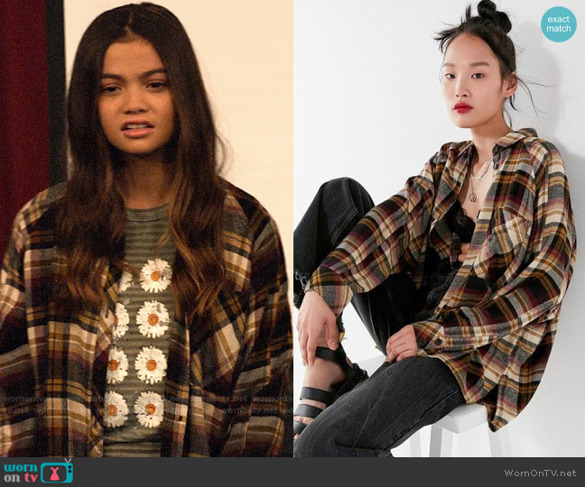 UO Brendan Drapey Flannel Button-Down Shirt worn by Nick (Siena Agudong) on No Good Nick