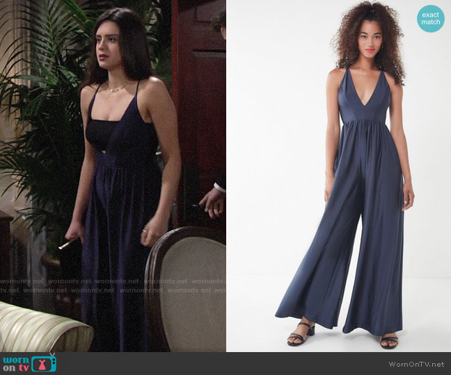 UO Gia Plunging Shimmer Jumpsuit worn by Lola Rosales (Sasha Calle) on The Young & the Restless