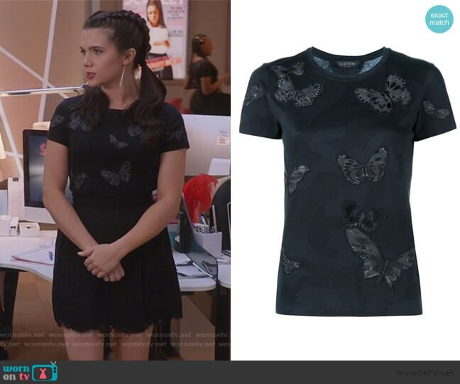 Rockstud Butterfly Embroidered T-shirt by Valentino worn by Jane Sloan (Katie Stevens) on The Bold Type