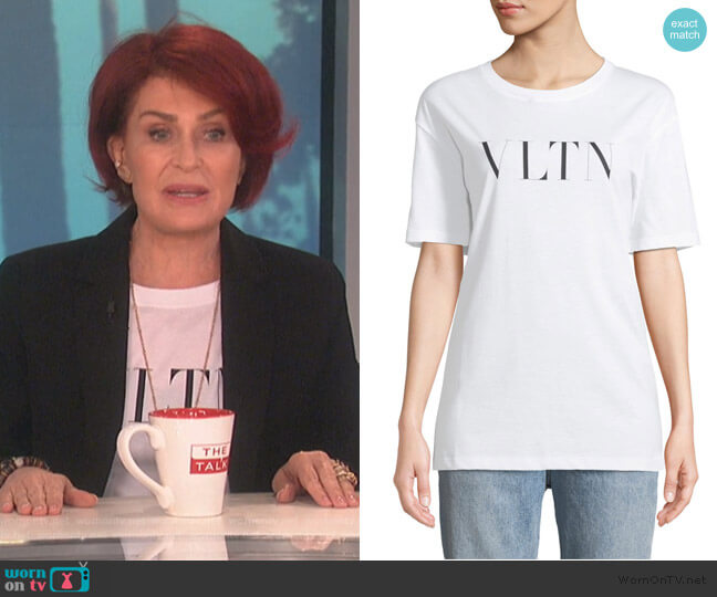 VLTN Logo Cotton Jersey T-Shirt by Valentino worn by Sharon Osbourne  on The Talk