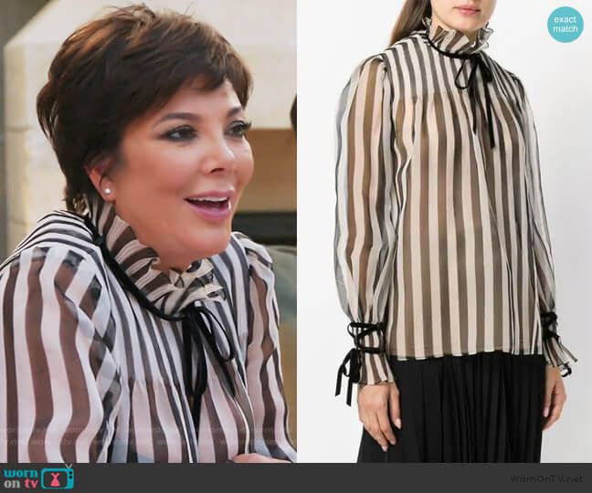 Striped Blouse by Valentino worn by Kris Jenner (Kris Jenner) on Keeping Up with the Kardashians