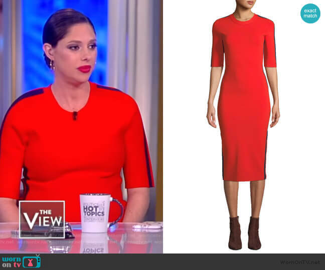 Audrie Dress with Race Stripes by Veronica Beard worn by Abby Huntsman  on The View