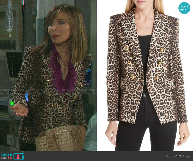 Veronica Beard Miller Leopard Jacket worn by Kate Roberts (Lauren Koslow) on Days of our Lives