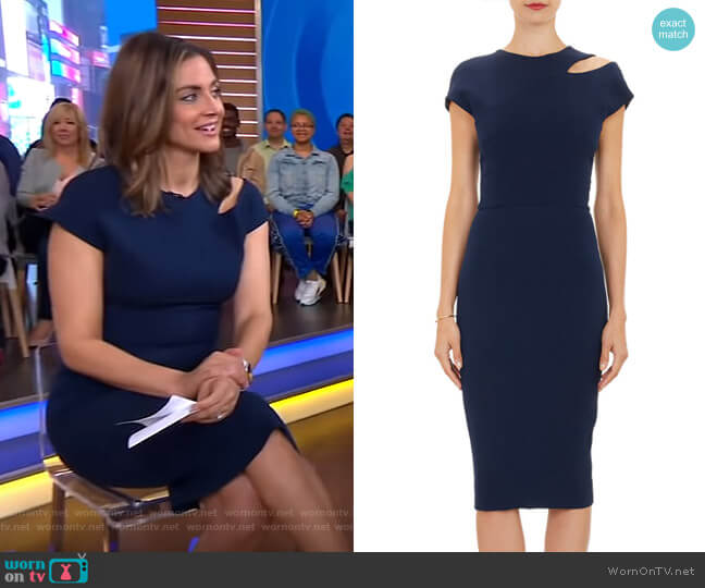 Cutout-Shoulder Sheath Dress by Victoria Beckham worn by Paula Faris  on Good Morning America