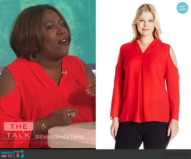 Long Sleeve Cold-Shoulder Invert Pleat V-Neck Blouse by Vince Camuto worn by Sheryl Underwood  on The Talk