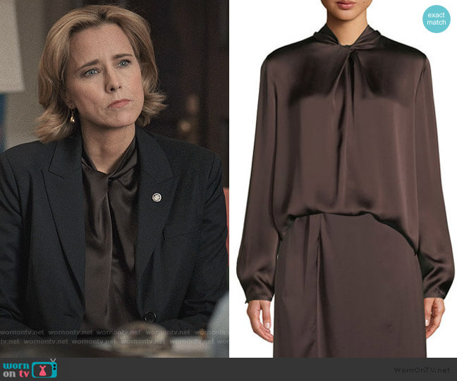 Knotted High-Neck Log-Sleeve Silk Blouse by Vince worn by Elizabeth McCord (Téa Leoni) on Madam Secretary