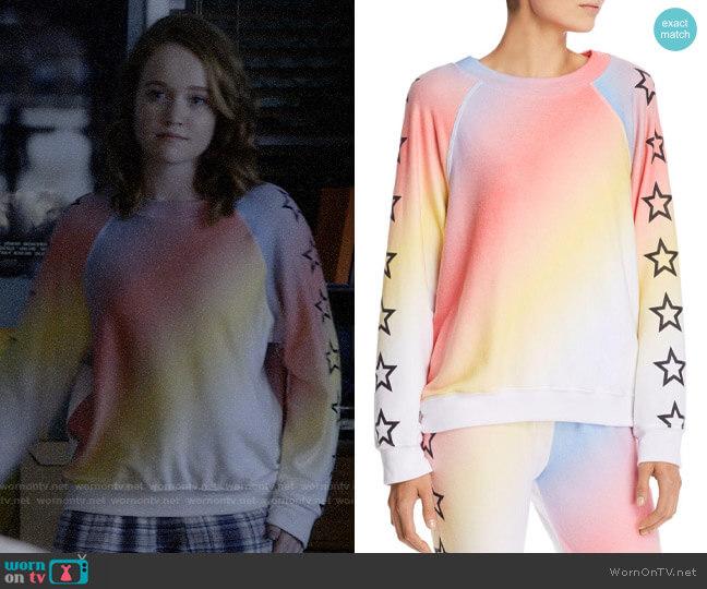WILDFOX Nebula Rainbow Star Sweatshirt worn by Abby Hammond (Liv Hewson) on Santa Clarita Diet
