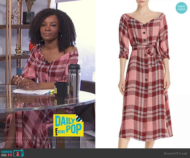 Off-the-Shoulder Plaid Dress by Whistles worn by Zuri Hall  on E! News