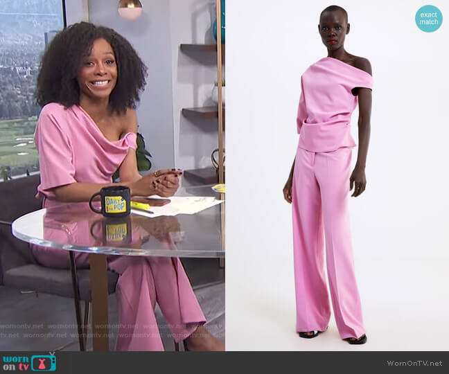 Asymmetric Top and Straight Cut Pants by Zara worn by Zuri Hall  on E! News
