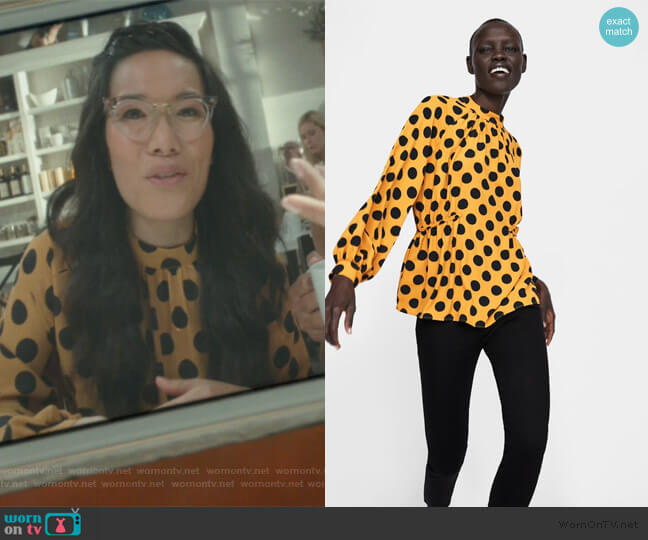 Polka Dot Blouse by Zara worn by Doris (Ali Wong) on American Housewife