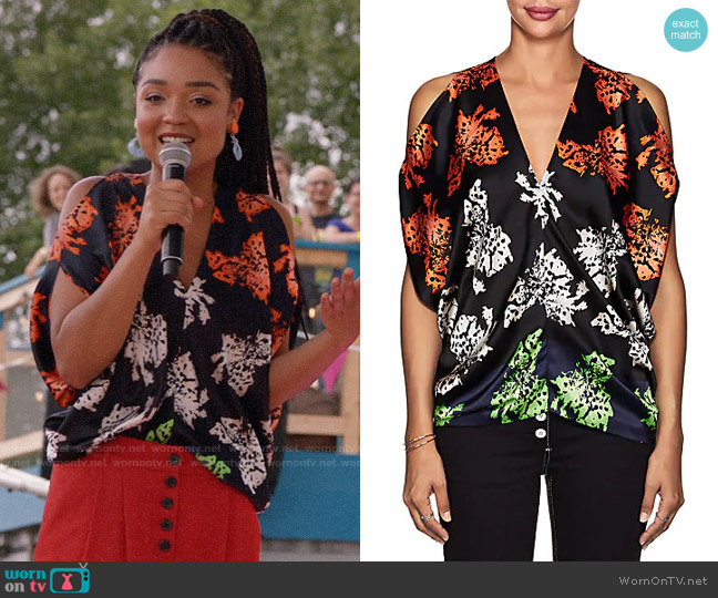 Zero + Maria Cornejo Kou Floral Stretch-Silk Blouse worn by Kat Edison (Aisha Dee) on The Bold Type