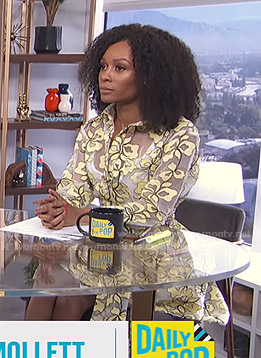 Zuri's yellow floral sheer shirtdress on E! News Daily Pop