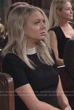 Abby's black pearl neckline dress on The Young and the Restless