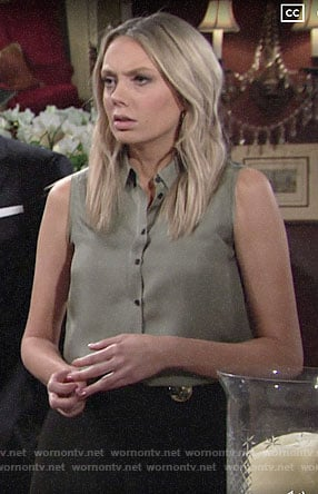 Abby's black pants with gold buttons on The Young and the Restless