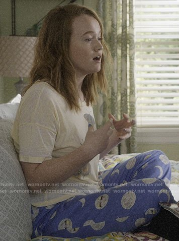 Abby's blue moon print pj pants on Santa Clarita Diet