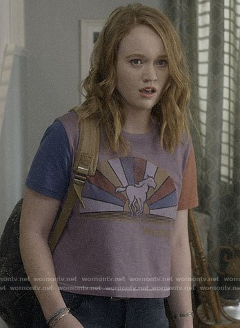 Abby's purple horse graphic tee on Santa Clarita Diet