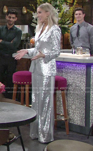 Abby's silver suit on The Young and the Restless