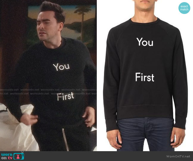 Acne Studios You First Sweatshirt worn by David Rose (Daniel Levy) on Schitts Creek