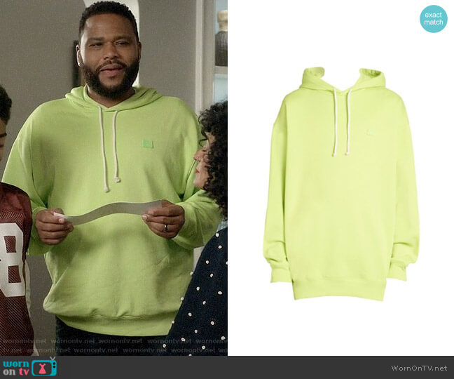 Acne Studios Farrin Face Hoodie in Lime Green worn by Andre Johnson (Anthony Anderson) on Blackish