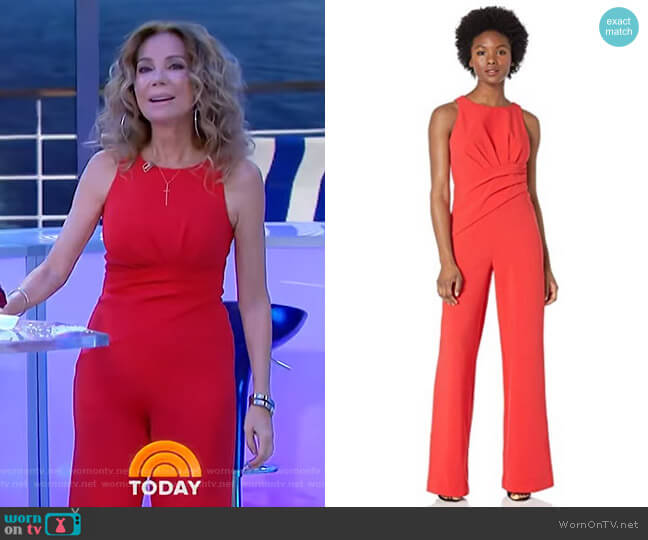 Racer Neckline Draped Jumpsuit by Adrianna Papell worn by Kathie Lee Gifford  on Today