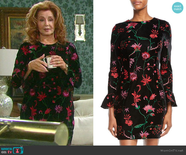 Aidan Mattox Floral Velvet Bell-Sleeve Dress worn by Maggie Horton (Suzanne Rogers) on Days of our Lives