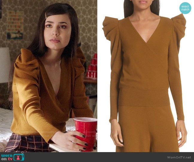 ALC Karina Sweater worn by Ava Jalali (Sofia Carson) on PLL The Perfectionists