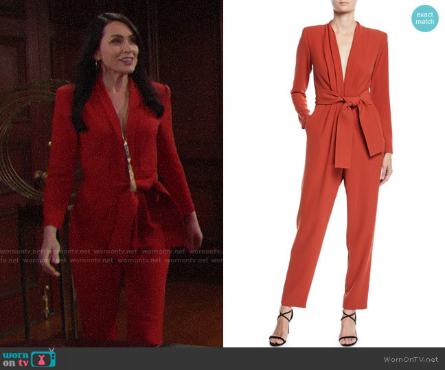 ALC Kieran Jumpsuit worn by Quinn Fuller (Rena Sofer) on The Bold & the Beautiful