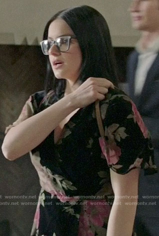 Alex's black floral velvet wrap dress on Modern Family