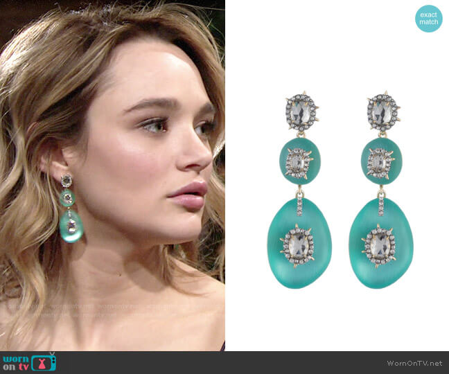 Alexis Bittar Triple Lucite Drop Earring worn by Summer Newman (Hunter King) on The Young & the Restless