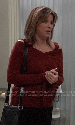 Alexis's red cold-shoulder tie-cuff sweater on General Hospital