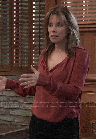 Alexis's red draped neck blouse on General Hospital