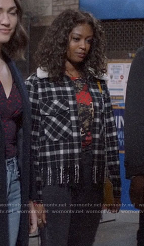 Ali's black plaid jacket with fringed hem on God Friended Me