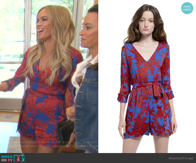 Melia Roll Cuff Romper by Alice + Olivia worn by Teddi Mellencamp Arroyave  on The Real Housewives of Beverly Hills