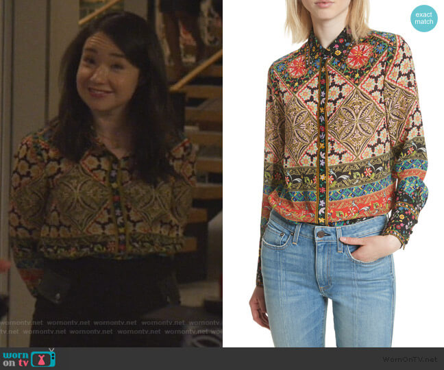 Patchwork Print Silk Shirt by Alice + Olivia worn by Marissa Gold (Sarah Steele) on The Good Fight