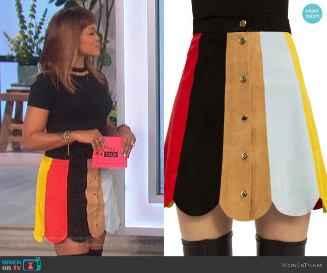 Rudie Suede Skirt by Alice + Olivia worn by Eve (Eve) on The Talk
