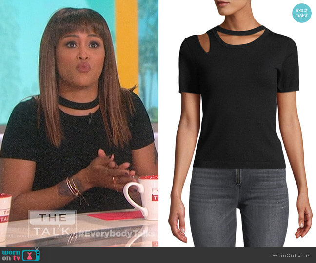 Roslyn Short-Sleeve Cutout Fitted Sweater by Alice + Olivia worn by Eve (Eve) on The Talk