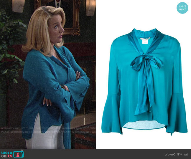 Alice + Olivia Merideth blouse worn by Nikki Reed Newman (Melody Thomas-Scott) on The Young & the Restless