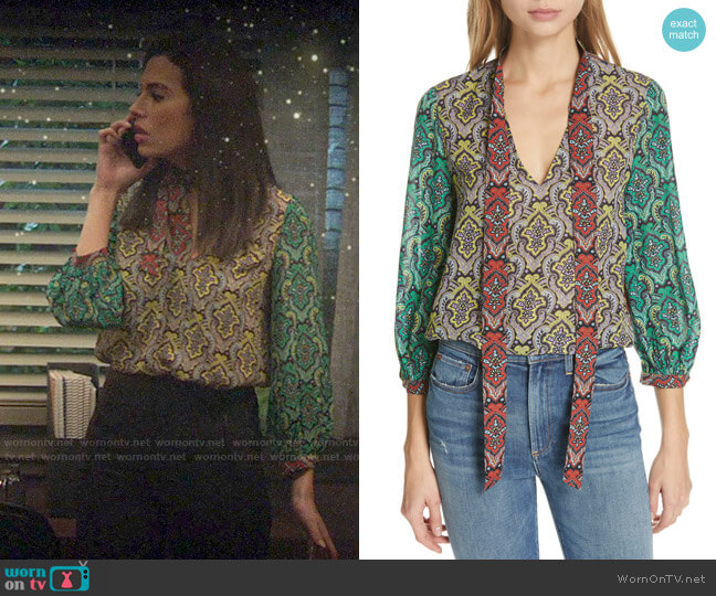 Alice + Olivia Sheila top worn by Tessa (Chloe Bridges) on Charmed
