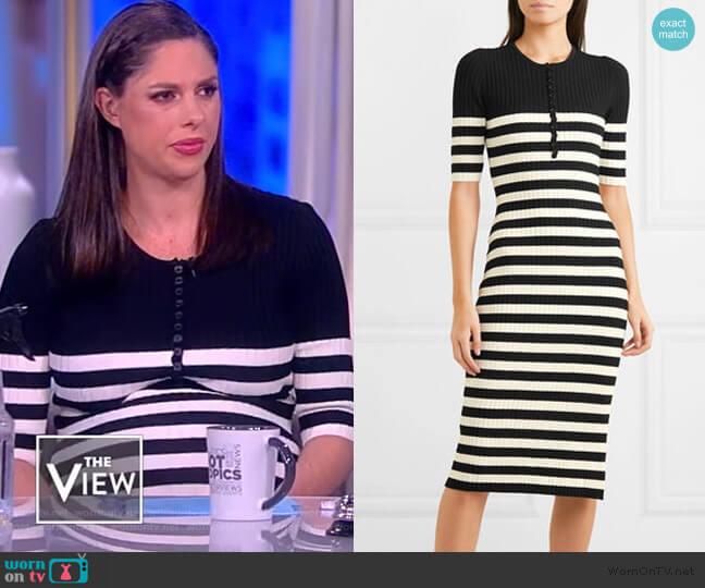 Sunday striped ribbed stretch-knit midi dress by Altuzarra worn by Abby Huntsman  on The View