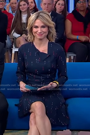 Amy's navy arrow print dress on Good Morning America