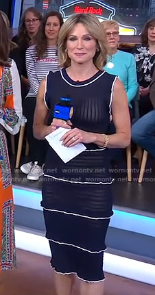 Amy's navy ruffled dress with white piping on Good Morning America