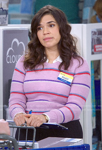 Amy's purple striped sweater on Superstore