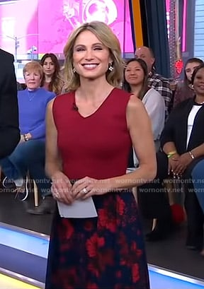 Amy's red top and floral skirt on Good Morning America