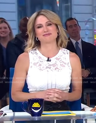 Amy's white sleeveless lace top on Good Morning America