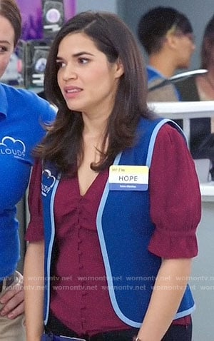 Amy's red ruffled sleeve top on Superstore