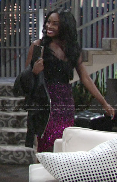 Ana's black and pink ombre sequin dress on The Young and the Restless
