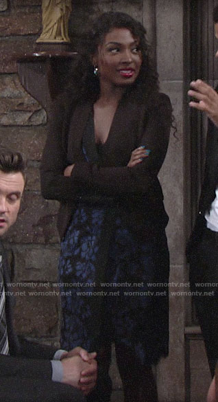 Ana's blue and black lace dress on The Young and the Restless